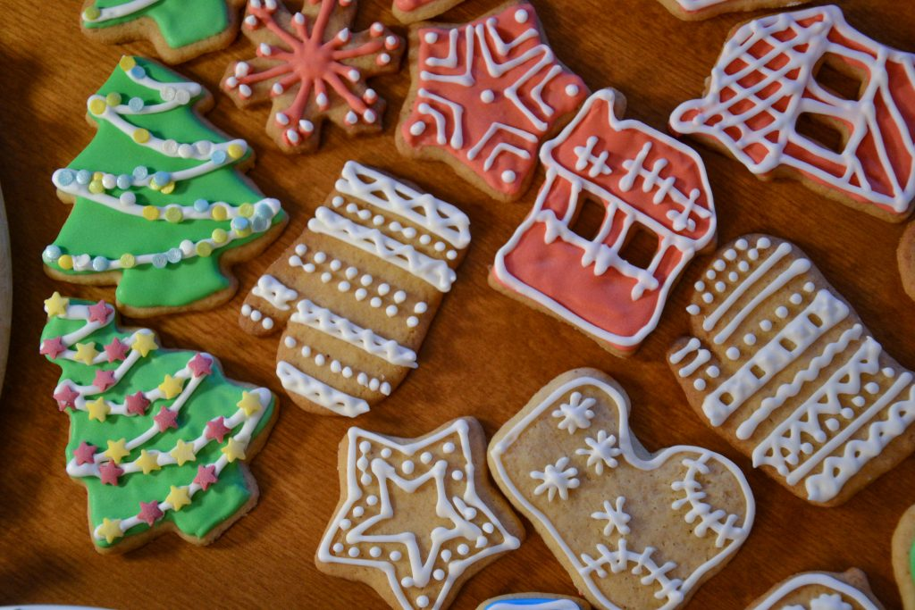 Decorated Christmas cookies sugar icing