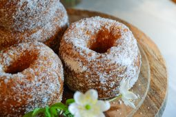 Homemade Cronuts with Sugar Topping and Orange Glaze